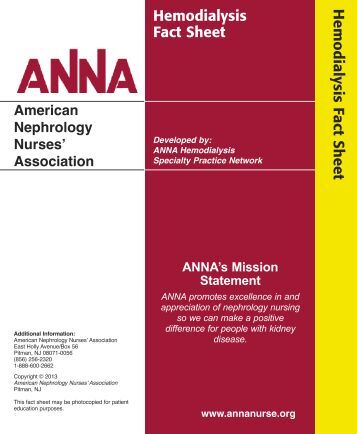 Hemodialysis Fact Sheet - American Nephrology Nurses Association