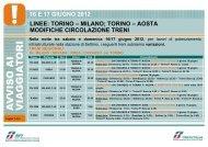 torino – aosta modifiche circolazione treni 16 e 17 ... - Trenitalia