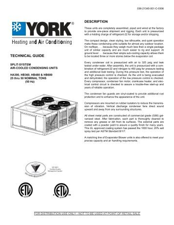 Y-TG-Split System Air Cooled Condensing Units, HA300 ... - UPGNet