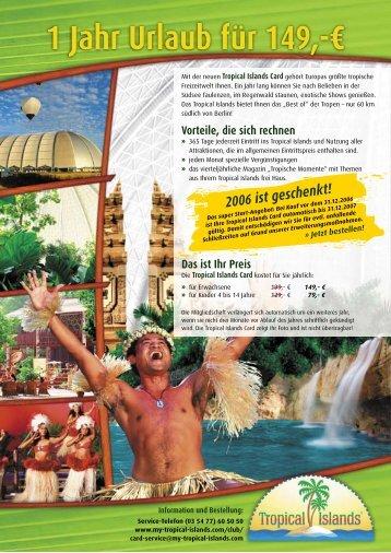 1 Jahr Urlaub für 149,-€ - mit der CityPower-Card