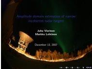 Amplitude domain estimation of narrow incoherent radar targets