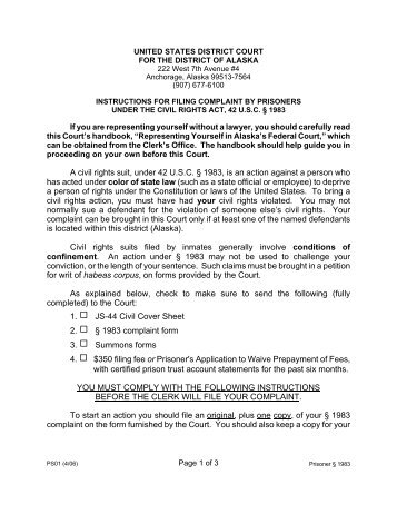 42 USC § 1983 Civil Rights Complaint form - Western District of ...