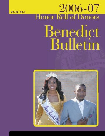 Bulletin: Honor Roll of Donors 2006-07 - Benedict College
