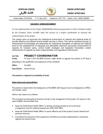 PROJECT COORDINATOR - African Union