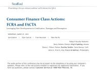 Consumer Finance Class Actions: FCRA and FACTA - Strafford