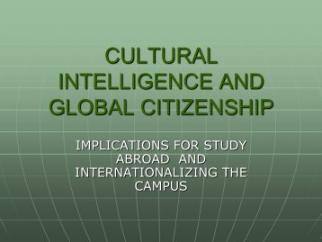 CULTURAL INTELLIGENCE AND GLOBAL CITIZENSHIP