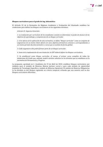 Bloques curriculares para el grado de Ing. Informática El Artículo 22 ...