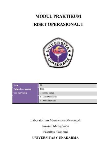 modul praktikum riset operasional 1 - iLab - Universitas Gunadarma