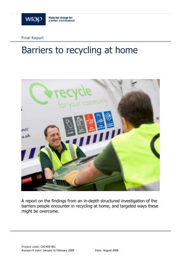 Barriers to recycling at home - technical report