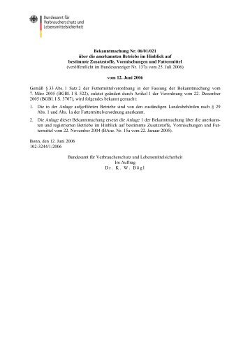 Bekanntmachung Nr. 06/01/021 über die anerkannten Betriebe im ...