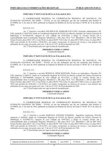 portarias das coordenações regionais publicado em 19.05.11 - Funai