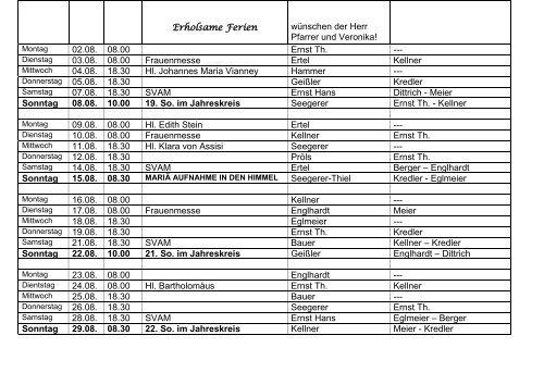 Lektoren- und Kommunionhelferplan vom 05.07. bis 29.08.2010
