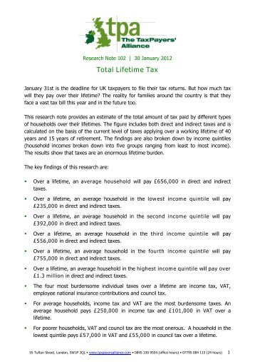 Total Lifetime Tax - The TaxPayers' Alliance
