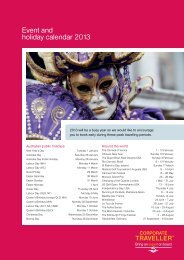 Event and holiday calendar 2013 - Corporate Traveller