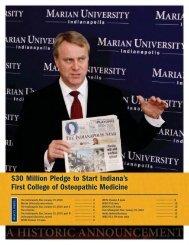 30 Million Pledge to Start Indiana's First College ... - Marian University