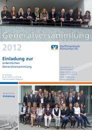 Generalversammlung 2012 - Raiffeisenbank Rottumtal eG
