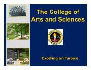 The College of Arts and Sciences - Bowie State University ...