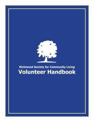 Volunteer Handbook - Richmond Society for Community Living