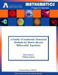 A Family of Anadromic Numerical Methods for Matrix Riccati ...