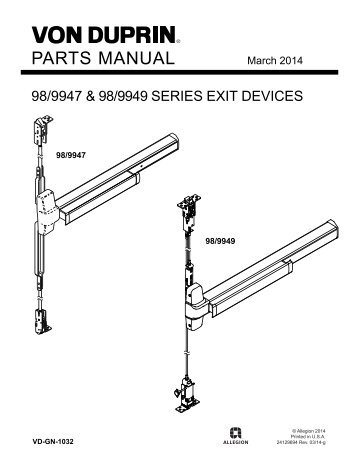 The 98 99 series parts manual von duprin for Von duprin 99 template
