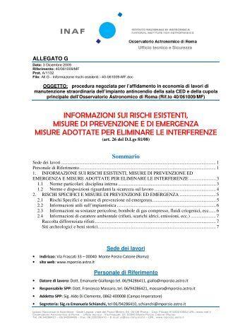 informazioni sui rischi esistenti, misure di prevenzione e di ...