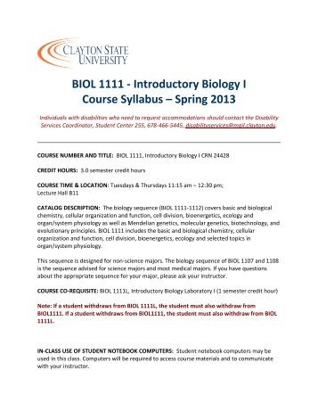 BIOL 1111 - Introductory Biology I Course Syllabus ... - Faculty > Home