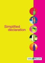Simplified declaration - valorlux.lu