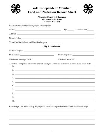4-H Independent Member Food and Nutrition Record Sheet