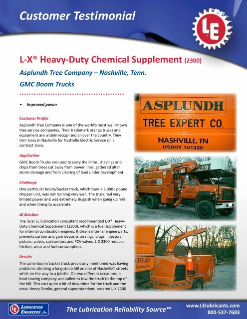 Asplundh Tree Company - Lubrication Engineers, Inc
