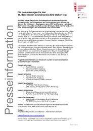 Pressemitteilung Nominierte Bayerischer Gründerpreis 2013