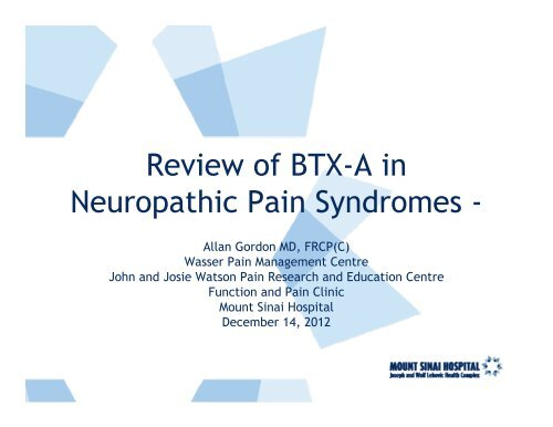 Review of BTX-A in Neuropathic Pain Syndromes - - Mount