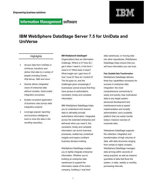 IBM WebSphere DataStage Server 7 5 for UniData