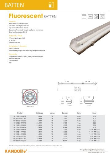 FluorescentBATTEN BATTEN - Prosperity Lamps & Components ...