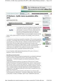 IT Partners : ZyXEL lance sa première offre IPTV - Config