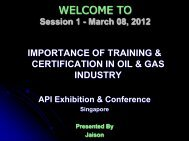 WELCOME TO Training program on - API Singapore 2012