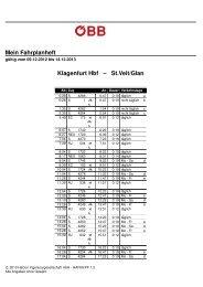 Mein Fahrplanheft KlagenfurtHbf – St.Veit/Glan
