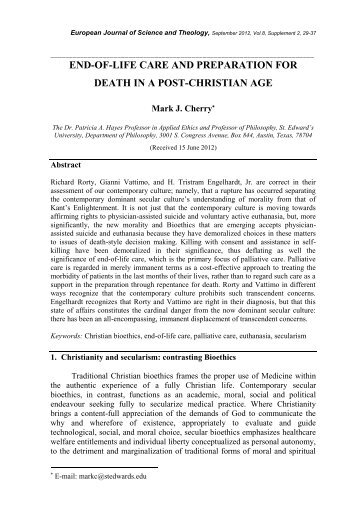 End-of-life care and preparation for death in a post-Christian age