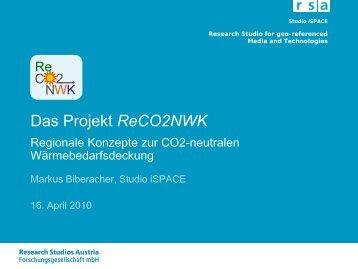 Das Projekt ReCO2NWK