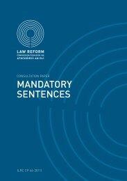 Consultation Paper on Mandatory Sentences - Law Reform ...