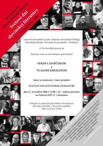 Svetové dni slovinskej literatúry - Vlado Kreslin