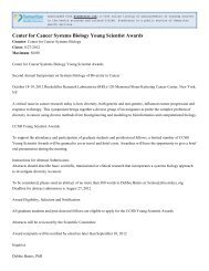 Center for Cancer Systems Biology Young Scientist ... - ScanGrants