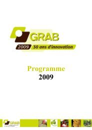 Programme 2009 - GRAB, Groupe de Recherche en Agriculture ...