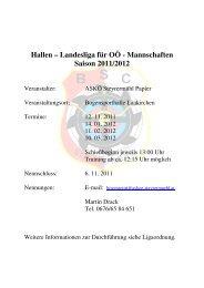 Hallen – Landesliga für OÖ - Mannschaften Saison 2011/2012