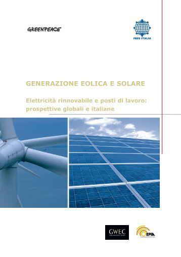 GENERAZIONE EOLICA E SOLARE - Greenpeace