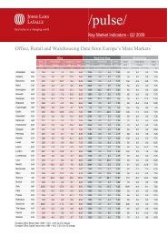 Office, Retail and Warehousing Data from Europe's Main Markets