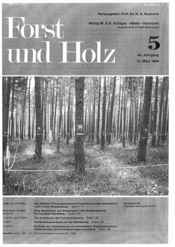 Zum Wachstum von Eichensaat unter Kiefernschirm im Forstamt ...