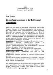 Zukunftsperspektiven in der Politik und Verwaltung - CZSG