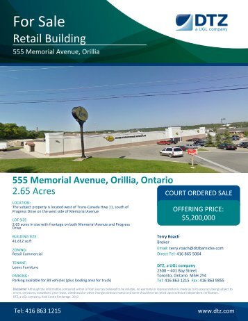 555 Memorial Avenue, Orillia, Ontario - DTZ