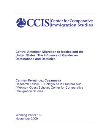 Central American Migration to Mexico and the United States: The ...