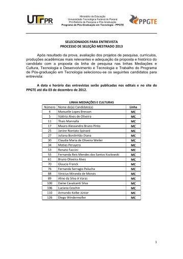 SELECIONADOS PARA ENTREVISTA - Mestrado 2013 - UTFPR